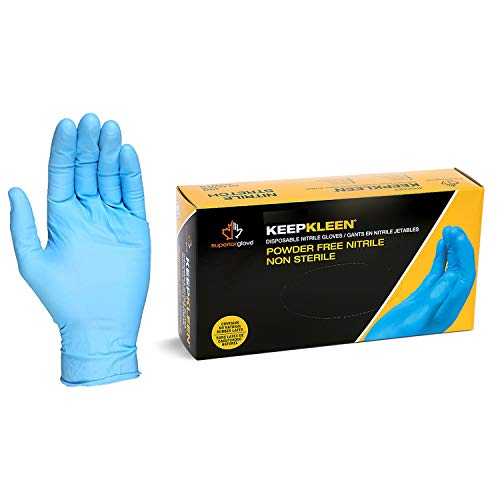 "Superior RDCNPF KeepKleen Contour Work Nitrile Gloves, Latex Free Glove, Disposable Gloves, Powder Free, 4 mil Thickness, 9"" Length, Medium (Box of 100) from Superior Glove"