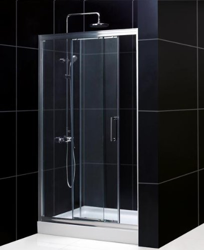 Illusion Sliding Door Shower Enclosure with Base Configuration: Right, Size: 36