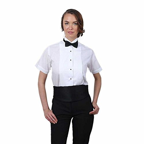 Women's White Short Sleeve Tuxedo Shirt and Black Bow Tie Set (18)