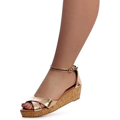 Gold Topschuhe24 Femmes Rose Sandalettes Sandales U4IwxqPZA4