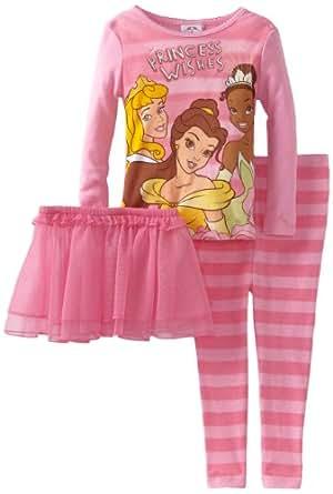 Disney Little Girls'  Unique Princess Long Sleeve 2 Piece Pajama, Pink, 2T