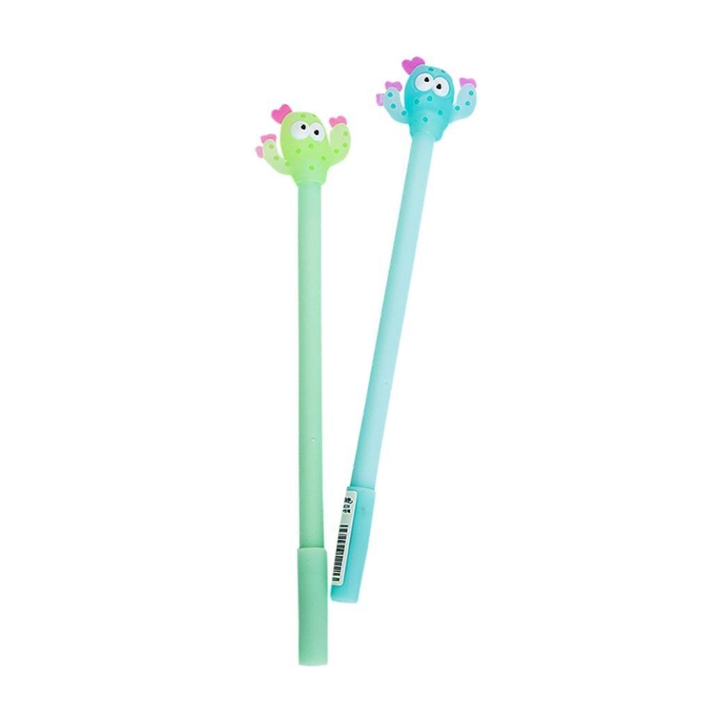 euone 2個Cartoon Cactusジェルブラックペンかわいいペンかわいいオフィス文具学生ギフト   B0743B5478