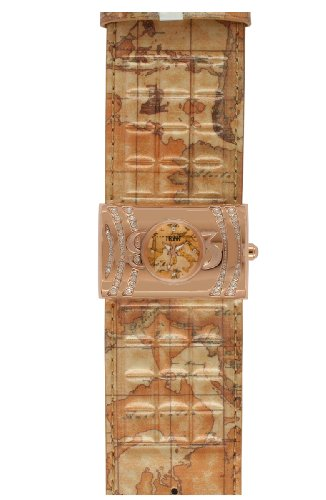 Prima Classe Women's PCD 843S/2VR Rose Gold PVD Rectangular Geo-Design Crystal Patent Watch