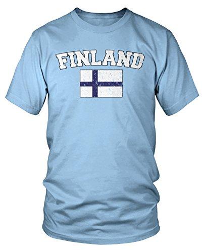 Amdesco Men's Finnish Finn Flag, Home Flag of Finland T-Shirt, Light Blue Large (Of Finnish Arms Coat)