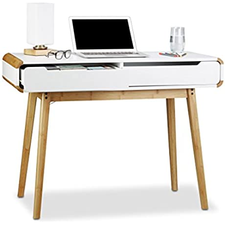 Relaxdays Desk With Drawers Nordic Design Vanity Children S Writing Table HxWxD 73 X 100 X 45 Cm White