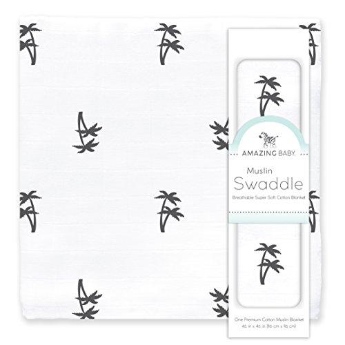 Amazing Baby Muslin Swaddle Blanket, Premium Cotton, Palm Trees, Black