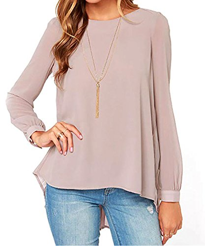 Chenghe Women Casual Chiffon Shirt Loose Long Sleeve Pleated Top Blouse Khaki L