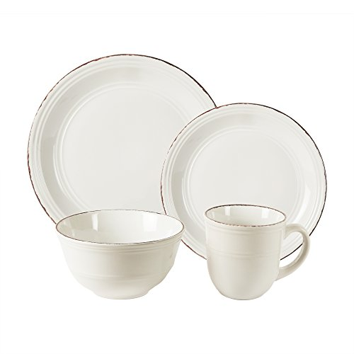 American Atelier 16 Piece Madelyn Dinnerware Set, White