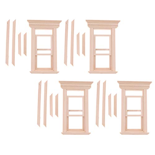 Baoblaze 4 Set Unpainted 1/12 Dolls House Miniature Wooden Movable 2-Pane Sash Window Model DIY Making Accessory Collections ()