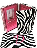 Hot Pink Initial ' D ' Zebra Print Soft Velvet Stripes Thick 1' Flat Wallet