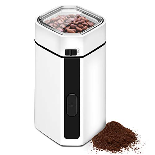 (Coffee Bean Spice Grinder Electric - Stainless Steel Blade Grinds Coffee Beans, Spices, Nuts and Grains, 150 W Fast Fine Grinder with Safe Lids Lock, 12 Cups Large Grinding Capacity, Cord Storage)
