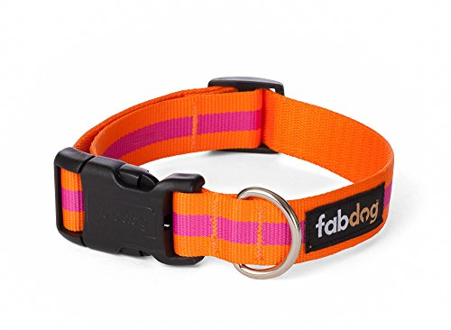 fabdog Classic Stripe Dog Collar Pink (Medium)