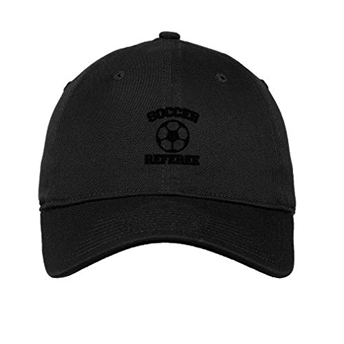 Black Hat Soccer - Soccer Ball Referee Embroidered Unisex Adult Flat Solid Buckle Cotton Unstructured Hat Low Profile Cap - Black, One Size