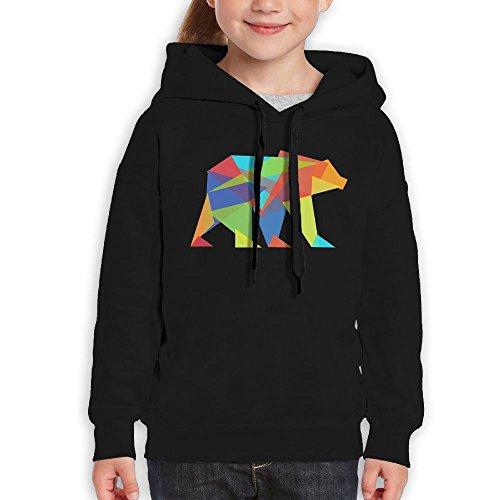 Price comparison product image Anraglan Mountain Bear Girls Long Sleeve Pullover Hooded Sweatshirt Black Size L