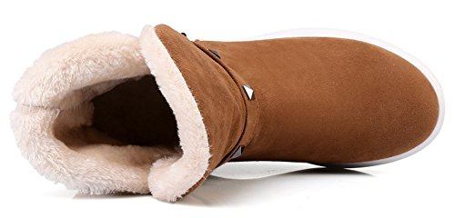 Femme Aisun Brun Mode Chaussures Hiver Rivets Bottines De fwRqaO