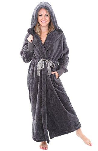 Alexander Del Rossa Womens Fleece Robe, Long Plush Hooded Bathrobe, 3X 4X Steel Grey with Elastic Cuffs (3 X Womens Elastic)