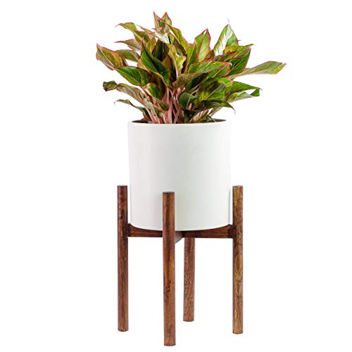 ASLINY Plant Stand Mid Century Wood Flower Pot Holder Display Potted Rack Rustic, up to 10 inches Planter Brown (Pot Not Included)