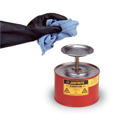 Justrite 10108 1 Quart Red Galvanized Steel Safety Plunger Can with 5 Dasher Plate and Brass/Ryton Plunger Assembly, Plastic, 1
