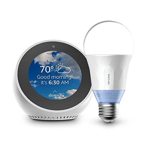 Echo Spot - White + TP-Link Smart Bulb, Tunable White