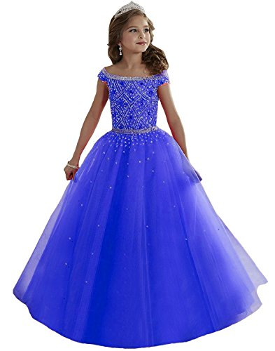 (Lilibridal Little Girls Birthday Party Ball Gowns Beaded Kids Pageant Dress LLB054, Royal Blue 3 , 2 )