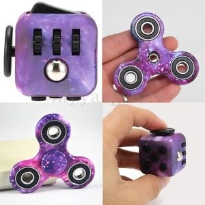 Price comparison product image LXX-MD Purple Galaxy Hand Fidget Spinner + Cube Anxiety Stress Relief Focus Adults Set