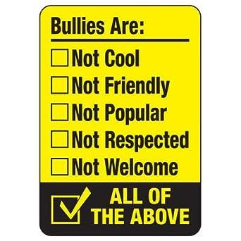 Amazon.com: No plástico Bullying – cartel Bullies no son ...