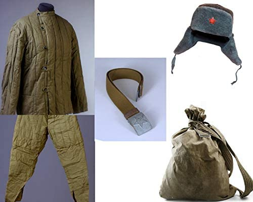 ff91f6fae54 Amazon.com: Set 5 telogreika jacket + Pants + Ushanka + Backpack +Belt Red  army ww2 60s S: Everything Else
