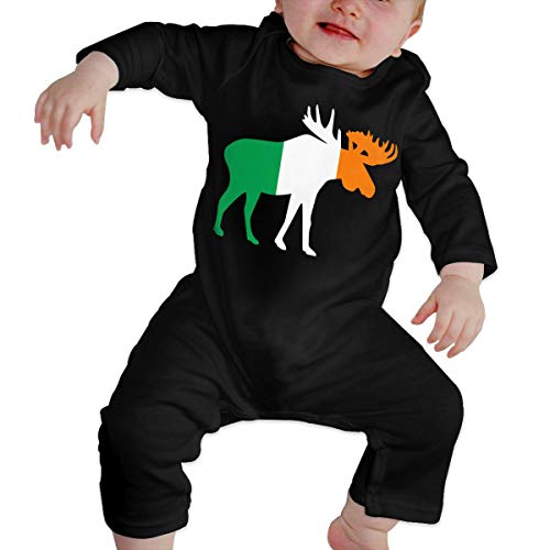U99oi-9 Long Sleeve Cotton Bodysuit for Baby Girls Boys, Cute Ireland Moose Sleepwear Black -
