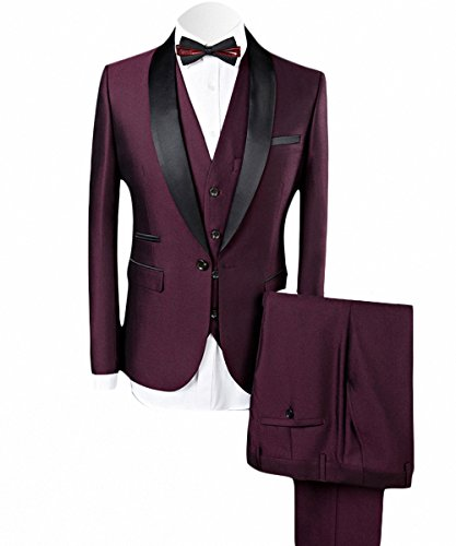 WEEN CHARM Men's 3-Piece Suit Slim Fit Shawl Lapel Dress Suit Set Blazer Jacket Pants Tux Vest Wine Red