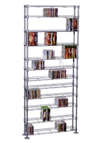 Media Storage Shelving Unit - Atlantic Maxsteel 12 Tier Shelving - Heavy Gauge Steel Wire Shelving for 864 CD/450 DVD/BluRay/Games Media PN63135237 in Silver