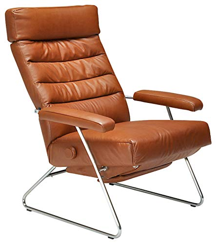Adele Recliner Chair Saddle Leather by Lafer Recliner Chairs