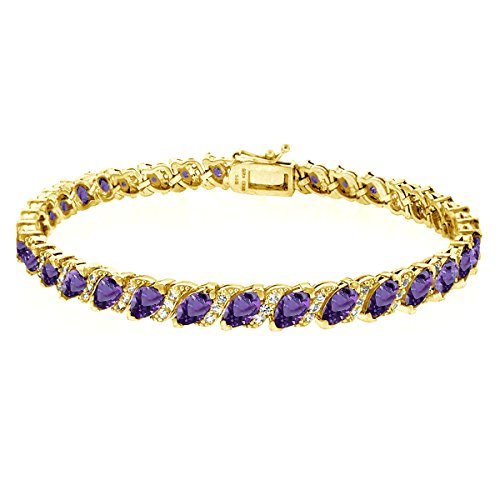 (GemStar USA Gold Flashed Sterling Silver African Amethyst Marquise-Cut Tennis Bracelet with White Topaz Accents)