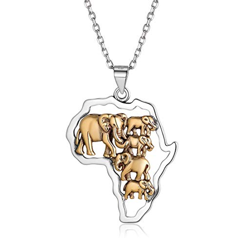 Hip Hop Jewelry Africa Map with Elephant Pendant Gold&Silver Two Tone Vintage African Style Necklace for Women Men, Chain 18'' - Tone Two Elephant