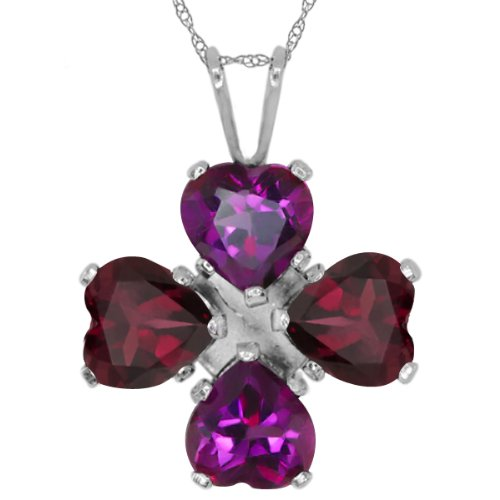 Gem Stone King 2.92 Ct Purple Amethyst Red Rhodolite Garnet 925 Sterling Silver Pendant