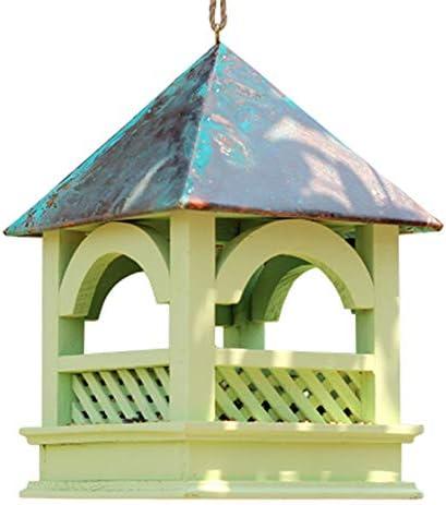 庭用屋外フィーダー カントリーハウスデザイン大規模な高度な鳥の送り装置多目的伝統的な木製の耐候性の装飾的な鳥の送り装置 森林の荒野に適しているか、庭に設置されている (色 : 緑, サイズ : Free size)