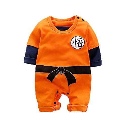 Krillin Halloween Costume (PWEINCY Baby Boy's Goku Halloween Costume Onesie Anime One-Piece Romper Jumpsuit Outfit for Infant Toddler (12-24 Months, Orange(Long)