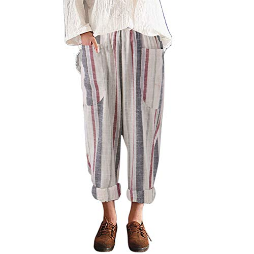 JOFOW Womens Pants Harem Straight Leg Vertical Striped Cotton Linen Loose Comfy High Waist Big Pocket Casual Cropped Pants (L,Multicolored) (Patterned Pants Ski Girls)