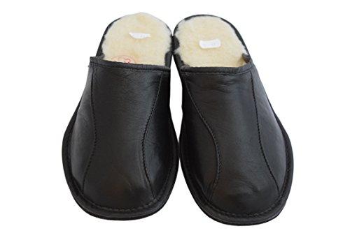 Natural Wool Por Calf Mules Piel Estar Natleat Zapatillas Hombre Para Casa Sheep's Negro Leather Slippers De f5wqT