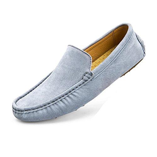 a de 2018 color Mocasines cuero Gris suela Penny de mano tradicionales Boat de del plantilla del los Mocasines genuino hombre Mocasines para hombres barco Zapatos sólido suave Vamp hechos transpirable r0vqOrT