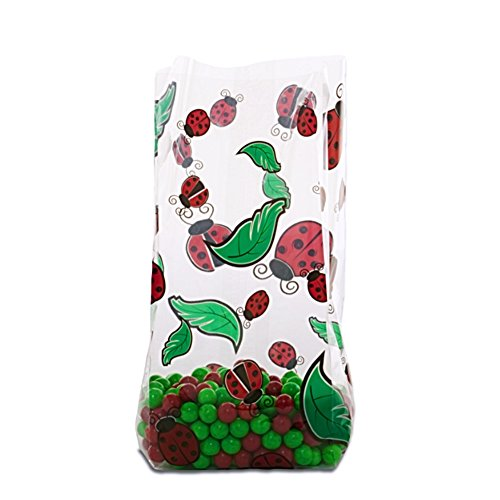 Lady Bug Cello Treat Bags - 9.5 x 2.5 x 4 - 20 Pack