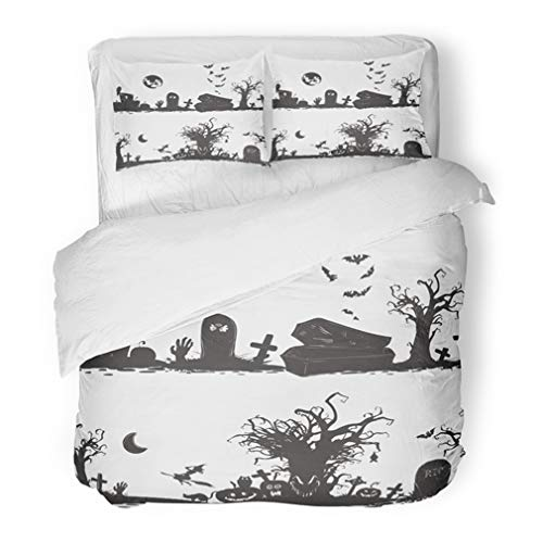 Emvency Bedding Duvet Cover Set Full/Queen (1 Duvet Cover + 2 Pillowcase) Halloween Magic Collection Witch Attributes Creepy And Spooky For Doodle Silhouettes Hotel Quality Wrinkle and Stain Resistant