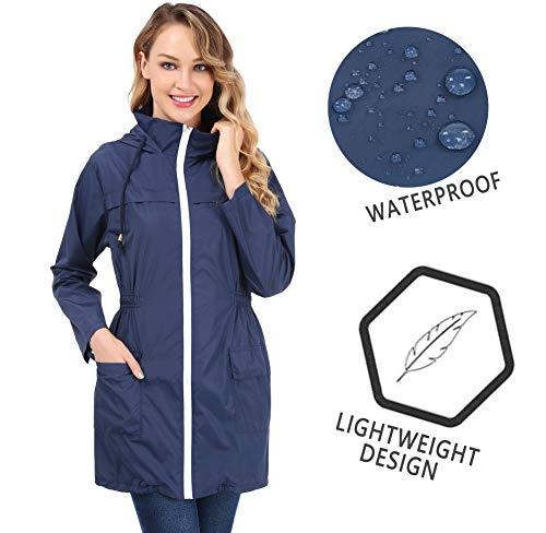 FISOUL Women's Lightweight Waterproof Raincoat Active Outdoor Hooded Rain Jacket Windbreaker (NavyBlue, Small ()