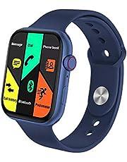 FK88 ساعة ذكية 44MM-SERIES 6 شاشة تتش بالكامل جميع زراير الساعة تعمل مع 2 سوار قماش و سيليكون تدعم اللغة العربية ومتوافقة مع Android و IOS لون أزرق