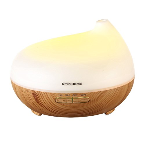 Aroma Essential Oil Diffuser with Timer Setting, 7-Color Scented Diffuser Humidifier with Mist Modes, 300ml Unique Night Light Humidifier for Kids, Office, Home Decor (Wood Grain) by OminiHOME