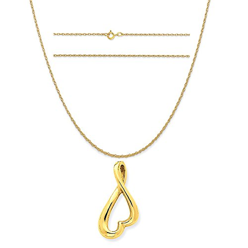 14k Yellow Gold Slide Pendant on a 14K Yellow Gold Carded Rope Chain Necklace, 20