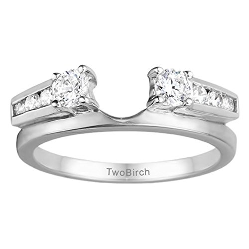 Diamond Classic Solitaire Ring Wrap in Sterling Silver G-H I2-I3(0.31Ct) Size 3 To 15 in 1/4 Size Interval ()