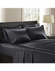 Madison Park Essentials Premier Comfort SHET20-173 Satin 6 Piece Sheet Set, Queen, Black