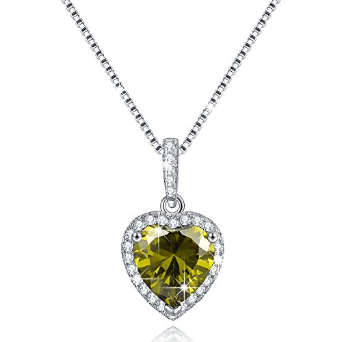 Love Heart Necklace Created August Birthstone Created Peridot Sterling Silver White Gold Plated Pendant Necklace Valentine's Day Gift for Women Birthday Gift for Women Mom Anniversary Gift for Her