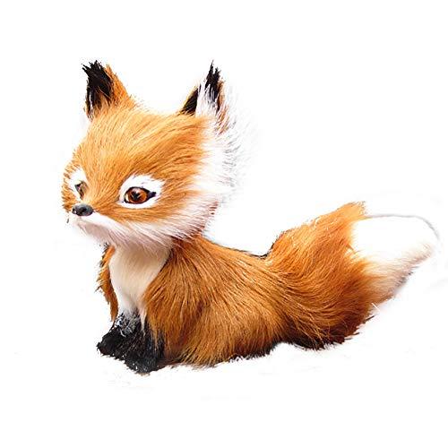 (Shuohu Simulation Faux,Fur Squatting Fox,Realistic Animal Model Ornament Toy Home Decor Birthday Gift)
