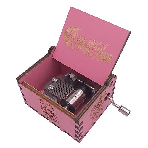 Sailor Moon Music Box Hand Crank Musical Box Carved Wooden,Play Sailor Moon Theme Song,Pink ()